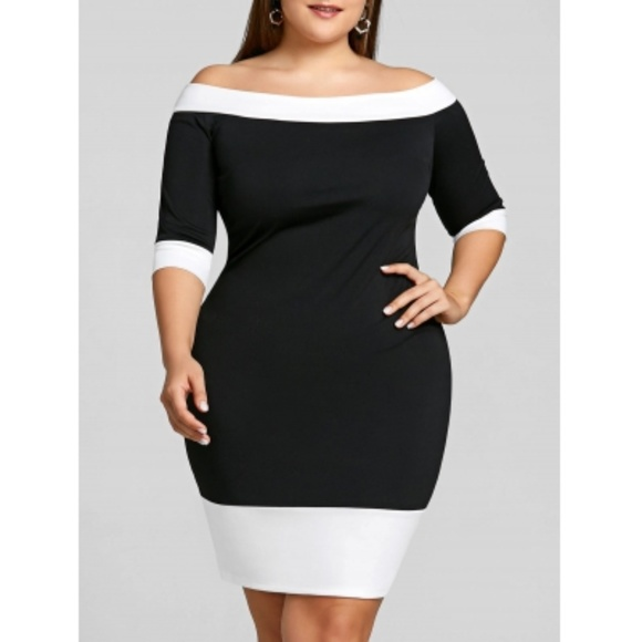 Plus Size Black & White Off Shoulder Sheath Dress Boutique